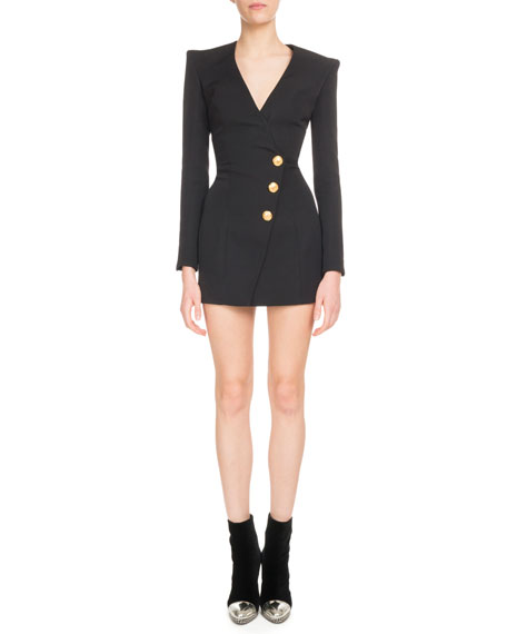 Long-Sleeve V-Neck Three-Button Side-Waist Cocktail Dress