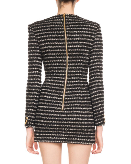 Long-Sleeve Striped Tweed 3-Button Shoulder Mini Dress