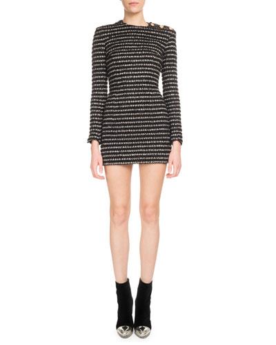 Long-Sleeve Striped Tweed 3-Button Shoulder Mini Dress