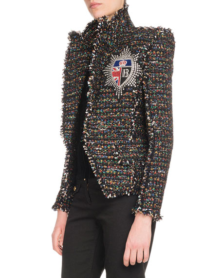 Multicolor-Tweed One-Button Jacket w/ Patch