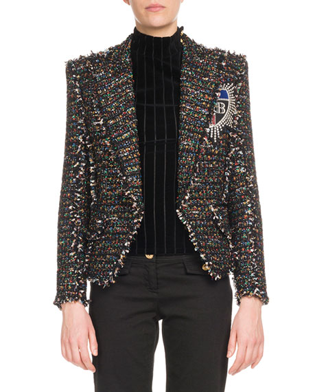 Balmain Multicolor-Tweed One-Button Jacket w/ Patch and Matching