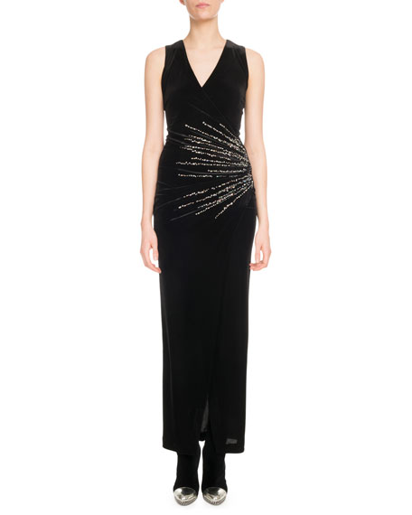 Sleeveless V-Neck Crystalized-Starburst Velvet Evening Dress in Black