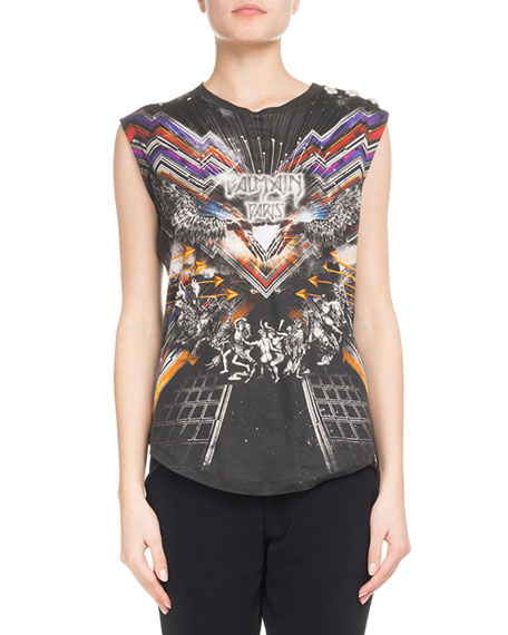 Sleeveless Flash-Print 3-Button Jersey Top