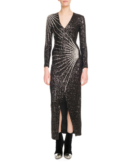 V-Neck Long-Sleeve Constellation-Embellished Paillette Evening Gown