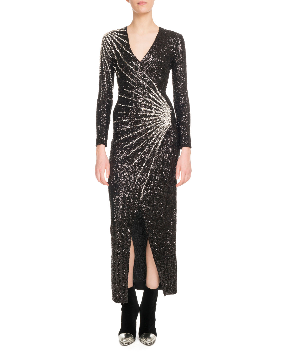 Balmain V-Neck Long-Sleeve Constellation-Embellished Paillette ...