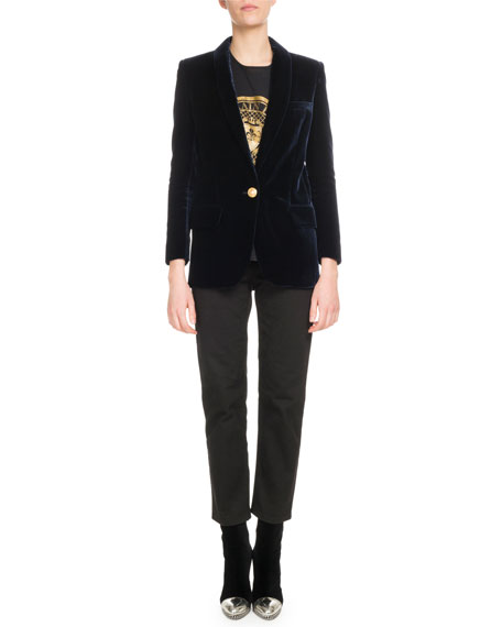 One-Button Long-Sleeve Velvet Jacket