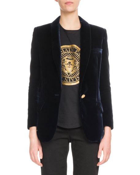 One-Button Long-Sleeve Velvet Jacket, Dark Blue
