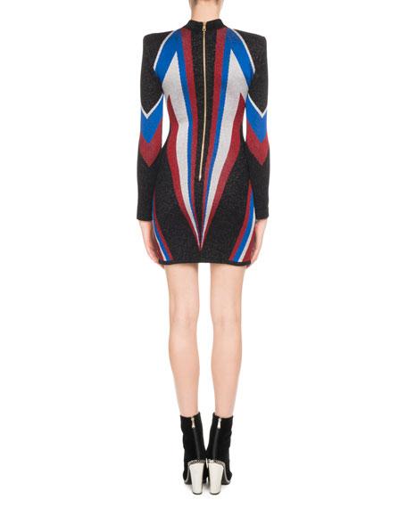 Mock-Neck Long-Sleeve Multicolor Flash-Knit Cocktail Dress