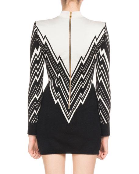 Long-Sleeve Mock-Neck Lightning-Knit Mini Cocktail Dress