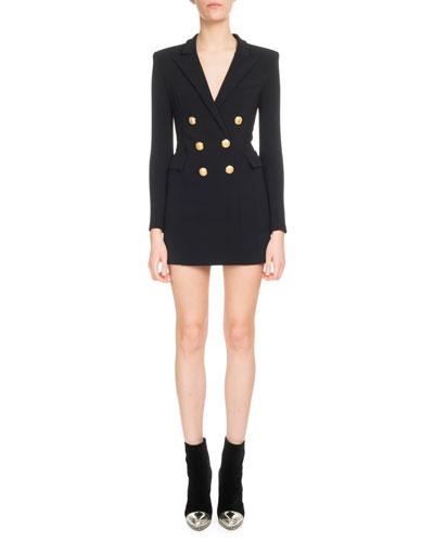 V-Neck Long-Sleeve 6-Button Jersey Blazer Dress