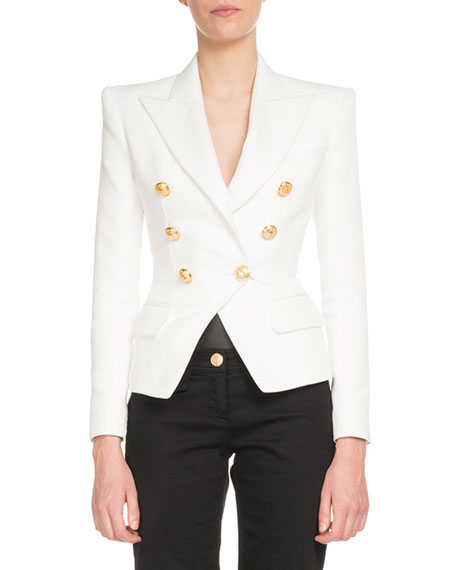 Balmain Classic Double-Breasted Cotton Blazer