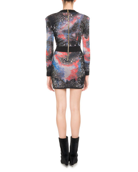 Long-Sleeve Deep-V Constellation-Print Mini Cocktail Dress