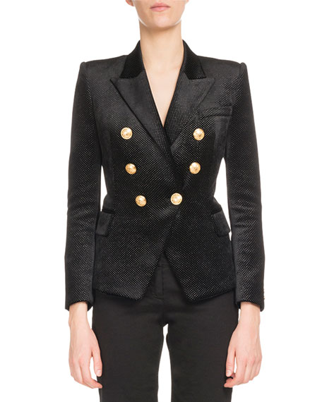 Classic Double-Breasted Glitter-Dot Blazer