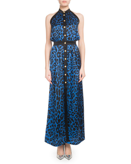 SLEEVELESS BUTTON-FRONT LEOPARD-PRINT SILK JERSEY MAXI DRESS