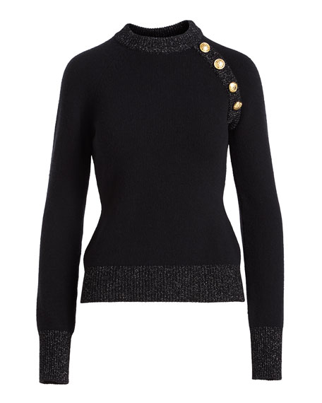 Long-Sleeve 4-Button Cashmere Sweater
