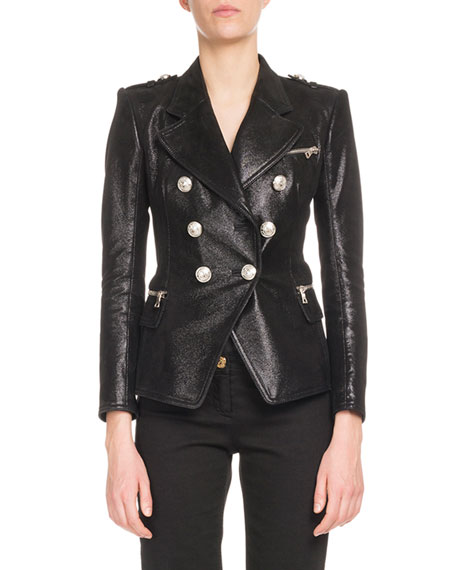 Balmain Six-Button Classic Leather Jacket and Matching Items