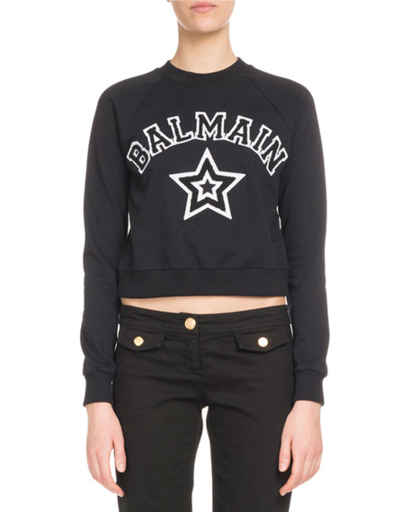 Long-Sleeve Logo Star Crop Jersey Sweatshirt in Black