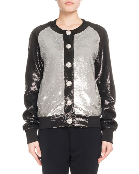 Button-Front Bicolor Paillette Sequin Baseball Jacket