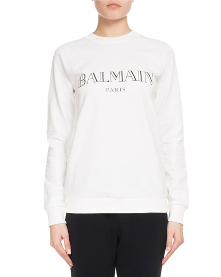 Balmain Long-Sleeve Crewneck Glitter-Logo Jersey Sweatshirt and