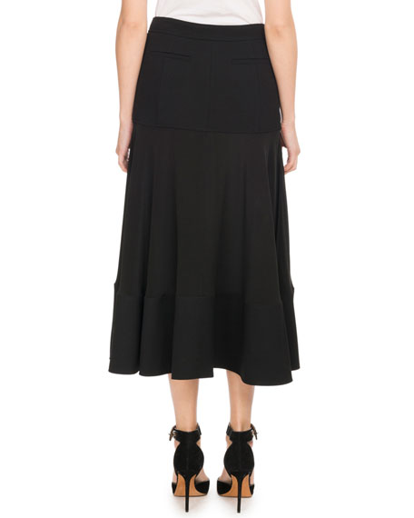 A-Line Crepe de Chine Mid-Calf Circle Skirt