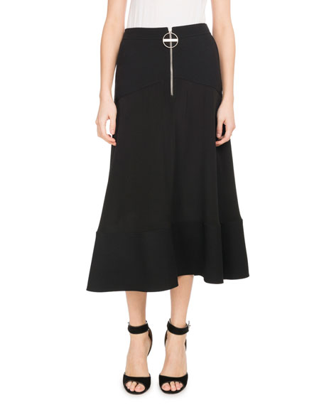 A-Line Crepe De Chine Mid-Calf Circle Skirt, Black