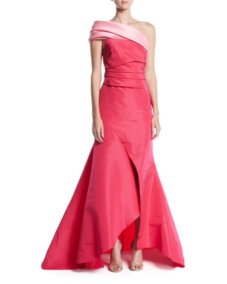 Oscar de la Renta One-Shoulder Draped-Bodice Slit-Front Evening