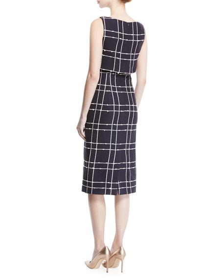 Sleeveless Check-Tweed Sheath Dress