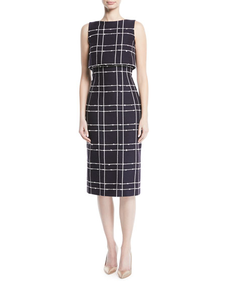 Checked Cotton-Blend Bouclé Midi Dress, Blue/White