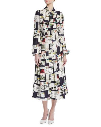 Tie-Neck Long-Sleeve Postcard-Print Midi Silk Shirtdress