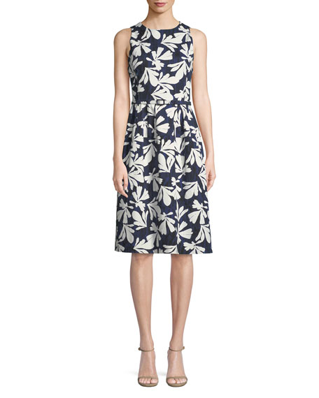 Oscar de la Renta Sleeveless Fit-and-Flare Floral-Print Dress
