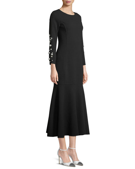 Jewel-Neck Long-Sleeve Wool Tea-Length Cocktail Dress with Pearlescent Trim