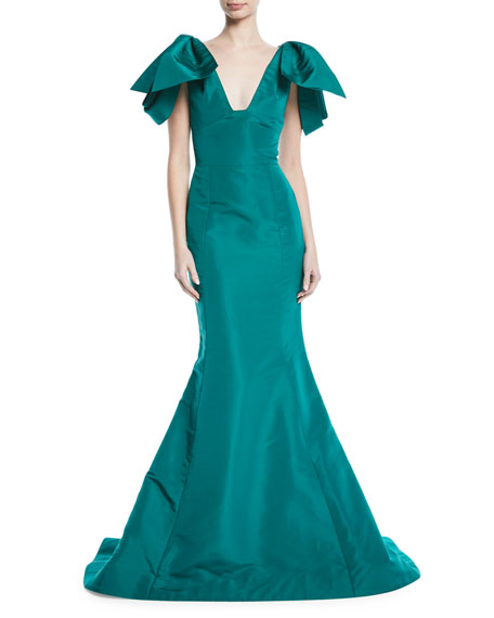 V-Neck Bow-Shoulder Fitted Silk Faille Evening Gown