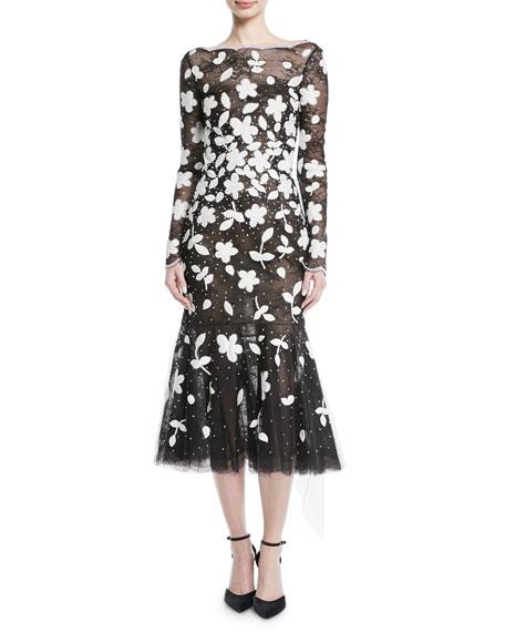 Oscar de la Renta Long-Sleeve Floral-Embroidered Sequined Tulle