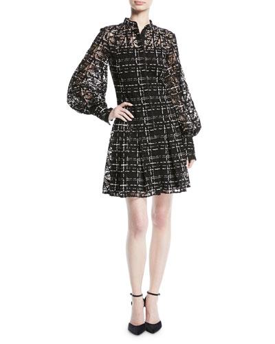 Long-Sleeve Button-Down Plaid-Lace Dress
