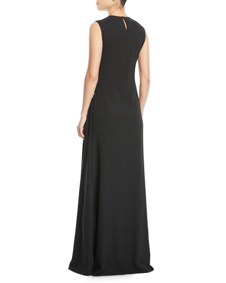 Jewel-Neck Sleeveless Gathered Column Evening Gown w/ Crystal-Brooch