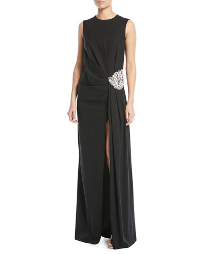 Jewel-Neck Sleeveless Gathered Column Evening Gown w/ Crystal-Brooch