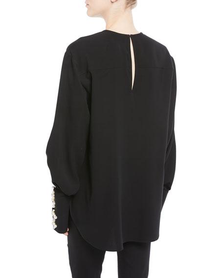 Jewel-Neck Pearl-Cuff Silk Georgette Blouse