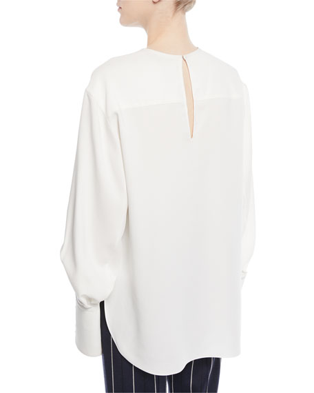 Jewel-Neck French-Cuff Silk Georgette Blouse