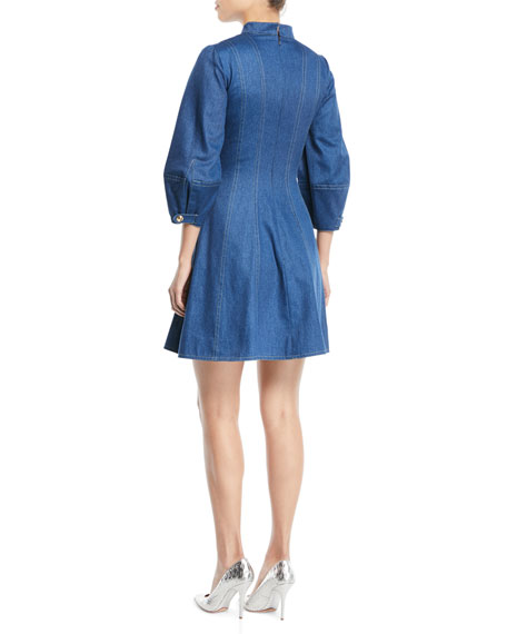 Slit-Neck 3/4 Pouf-Sleeve Fit-and-Flare Denim Dress
