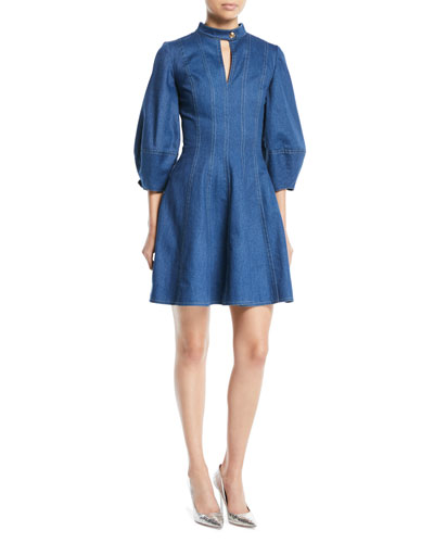Slit-Neck 3/4 Pouf-Sleeve Fit-and-Flare Denim Dress