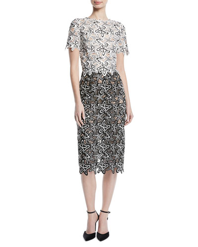 Short-Sleeve Starfish-Guipure Lace Midi Sheath Cocktail Dress