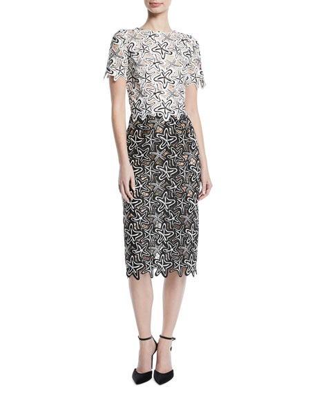 Short-Sleeve Starfish-Guipure Lace Midi Sheath Cocktail Dress