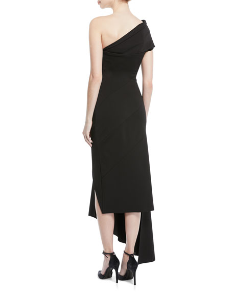 One-Shoulder Crepe to Satin Asymmetric Cocktail Dress