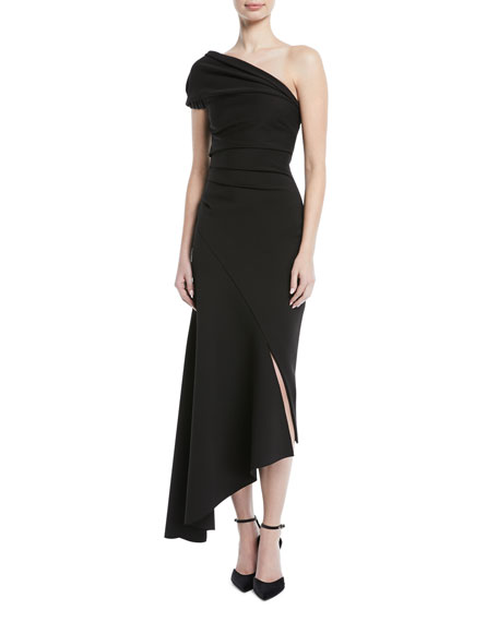 One-Shoulder Crepe To Satin Asymmetric Cocktail Dress, Black