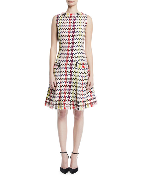 Sleeveless Multi-Check Silk Dress w/ Tweed Trim