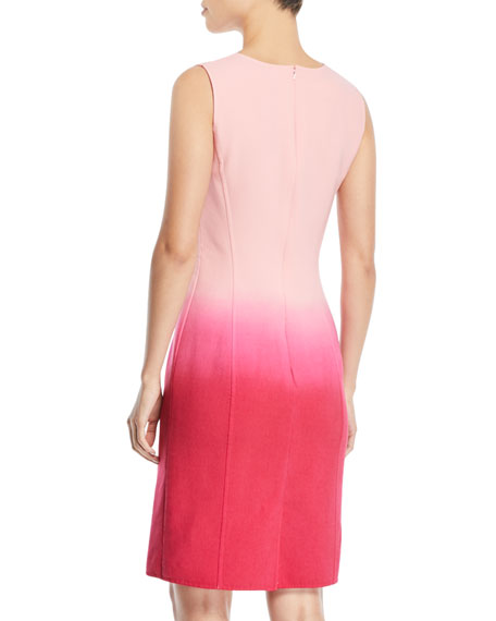 Sleeveless Jewel-Neck Dip-Dye Ombre Sheath Dress