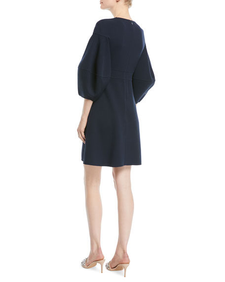 Crewneck 3/4 Lantern-Sleeve A-Line Wool Crepe Cocktail Dress