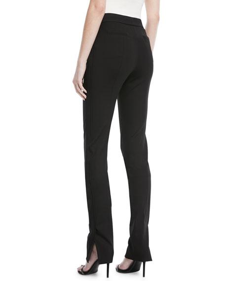 Side-Slit Skinny-Leg Pants