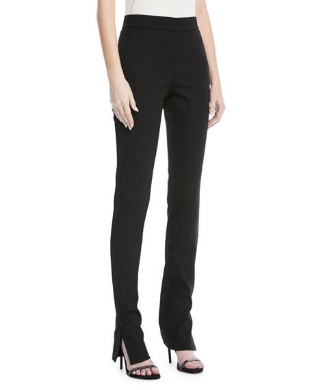 Oscar de la Renta Side-Slit Skinny Pants