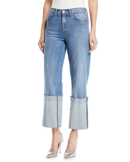 Wide-Leg Cuffed Ankle Jeans